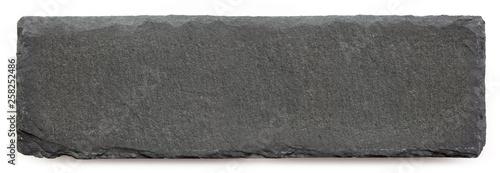 Valokuva  Long black slate isolated on white background