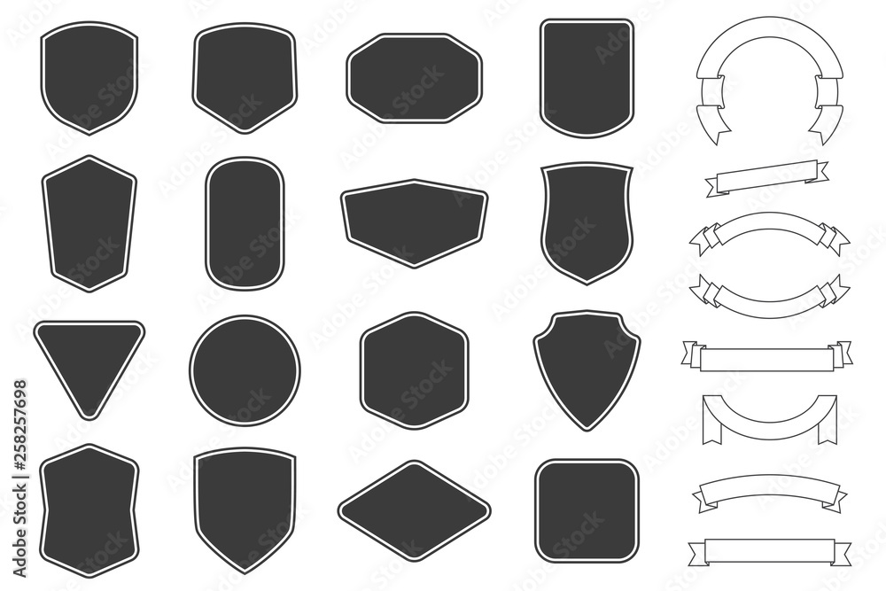 Fototapeta Set of vitage label, badges shape and ribbon baner collections. Vector. Black template for patch, insignias, overlay.