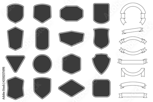 Set of vitage label, badges shape and ribbon baner collections. Vector. Black template for patch, insignias, overlay. - fototapety na wymiar