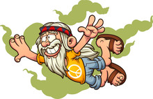 Flying Old Cartoon Hippie Man ...