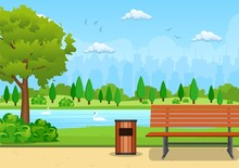 Bench With Tree And Lantern In The Park. Vector Illustration In Flat Style