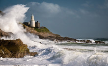 Mumbles Lighthouse In A Storm - Swansea