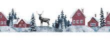 Winter Landscape With House, Deer And Forest.  Christmas Seamless Decor./