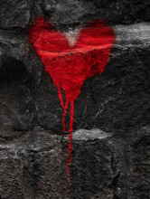 Red Heart On Grey Wall