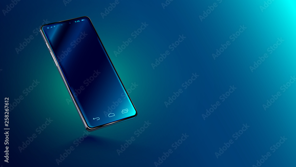 Fototapety, obrazy: Modern glass smartphone hanging over the table with a smooth dark blue surface in perspective view with reflection. Realistic vector illustration isometric phone. Mock up or template shiny cellphone.