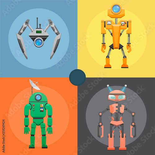 Set of metallic robots or droids on four icons Poster Mural XXL
