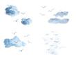 Leinwandbild Motiv Watercolor set of birds in the sky