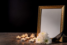 Blank Funeral Frame, Candles A...