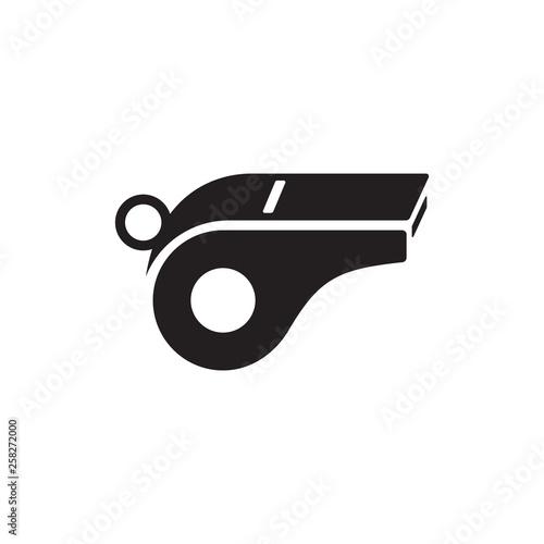 Valokuva black whistle vector icon logo design concept