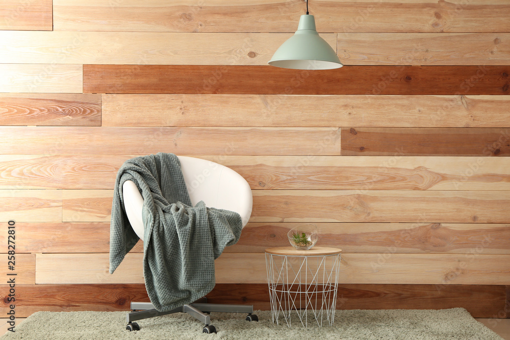Fototapety, obrazy: Chair and table near wooden wall
