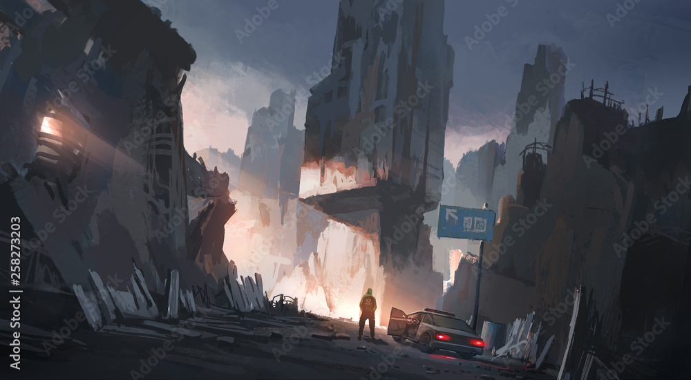 Human city after the war, digital illustration
