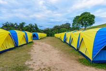 Tent Camping Place At Doi Samer Dao. Sri Nan National Park, Nan Province, Thailand
