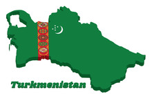 3D Map Outline And Flag Of Turkmenistan, A Green Field With Red Stripe Containing Five Carpet Guls Stacked Above Two Crossed Olive Branches; A White Crescent And Stars.