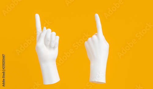 One finger Pointing up white hand gesture on yellow background. Female showing hand sculpture. 3d rendering.