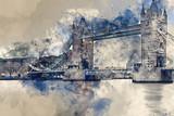 Fototapeta Londyn - Watercolor painting of Tower Bridge  against stormy sky