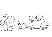 Fairy Tale Dragon Smoke Medieval Cartoon Illustration Isolated Image Coloring Page