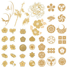 Japanese Icons Vector. Gold As...