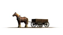 Farm Horse With Wagon On A Sand Area - Isolated On A White Background