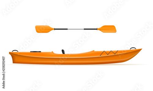 Valokuva plastic kayak for fishing and tourism vector illustration