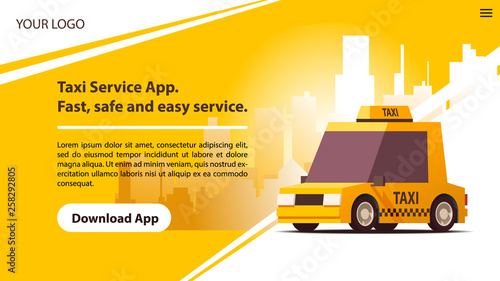 Fotografie, Obraz Taxi Services Mobile App with Cute Yellow Cab.
