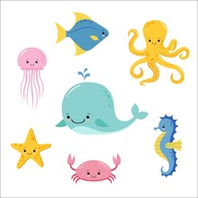 Cute Baby Sea Fishes. Vector C...
