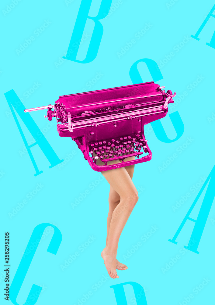 Copywriter has keyboard as a head and body. Typing with her brain. Female fit legs headed by pink retro typewriter on blue background. Business concept. Modern design. Contemporary art collage. - obrazy, fototapety, plakaty