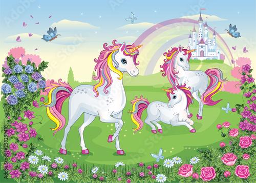 Set of  beautiful white unicorns Fototapeta