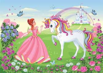 Beautiful Princess and white unicorn. Fairy-tale background with castle and rainbow. Wonderland. Flower meadow. Children illustration. Magic story. Vector.
