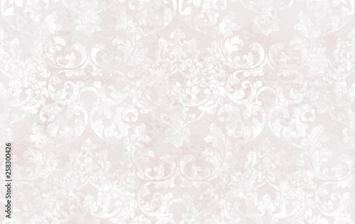 Fototapeta Rococo texture pattern Vector. Floral ornament decoration. Victorian engraved retro design. Vintage grunge fabric decors. Luxury fabrics obraz