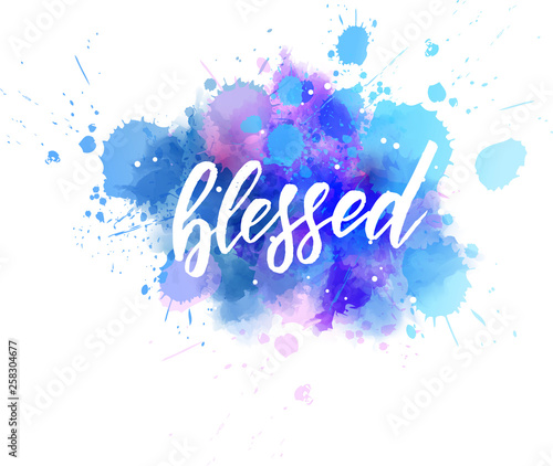 Blessed - handwritten modern lettering calligraphy Canvas Print