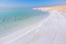Salt On The Shore. Dead Sea. Jordan Landscape