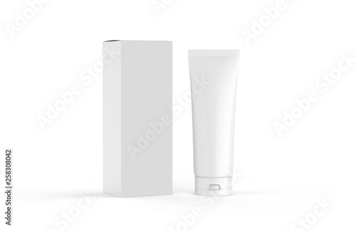 Leinwand Poster White blank glossy tube for cosmetics cream, gel, skin care, toothpaste, shampoo