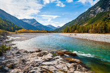 The Lech River Flowing Through The Alps In Autumn, Tirol, Austria