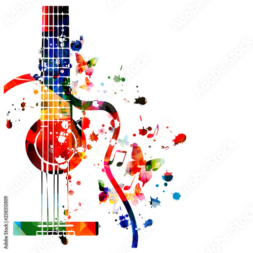 Plakaty Gatunki Muzyczne   colorful-guitar-with-music-notes-isolated-vector-illustration-design-music-background-music-instrument-poster-with-music-notes-festival-poster-live-concert-events-party-flyer