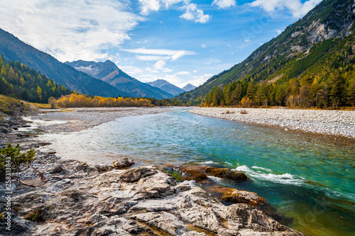 Aluminium Prints Forest river The Lech River flowing through the Alps in Autumn, Tirol, Austria