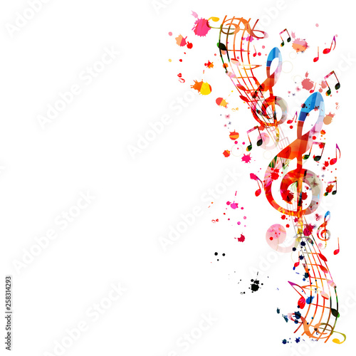 Photographie Music background with colorful music notes vector illustration design