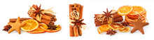 Set Of Dried Oranges, Star Anise, Cinnamon Sticks And Gingerbread, Isolated On White Background