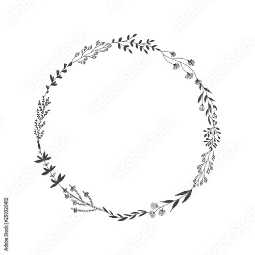 Obraz Hand drawn vector round frame with floral elements, herbs, leaves, flowers, twigs, branches - fototapety do salonu