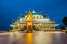 Thai Temple Beautiful At Night Twilight Blue Sky / Wat Pa Phu Kon Udon Thani Thailand Buddhism Temple On Hill
