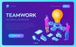Business concept for teamwork, cooperation, partnership. Creative Idea. Isometric Idea concept. Light bulb with gears. Vector illustration infographic template with people, team, light bulb and icon.