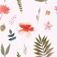 Watercolor Seamless Pattern Of Tropical Flowers And Leaves. Tropic Summer Print For Fabric Textile, Wrapping Paper, Clothes. Collage Jungle Style Hand Painted Illustration. Simple Bright Design.