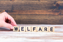Welfare. Wooden Letters On The Office Desk, Informative And Communication Background
