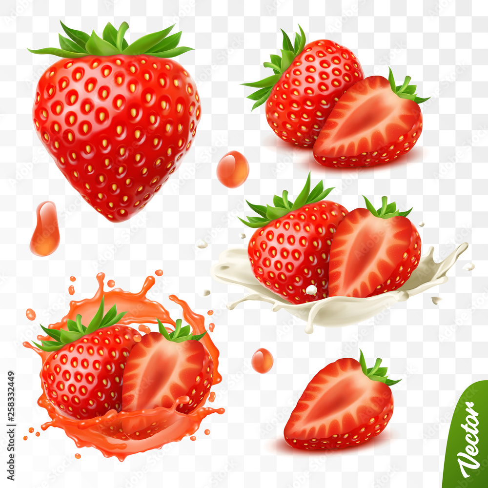 Fototapety, obrazy: 3d realistic transparent isolated vector set, whole and slice of strawberry, strawberry in a splash of juice with drops, strawberry in a splash of milk or yogurt