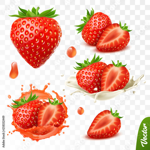 Leinwand Poster 3d realistic transparent isolated vector set, whole and slice of strawberry, str