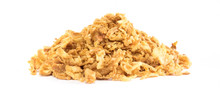Panoramic Crunchy Fried Onion Mountain On White Background