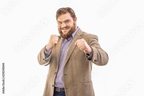 Fototapeta  Portrait of funny big handsome smiling bearded business man in beige suit, isola