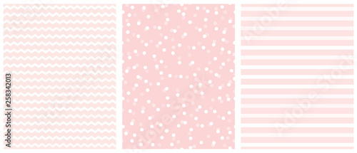 Photo  Cute White and Pink Geometric Seamless Vector Pattern Set