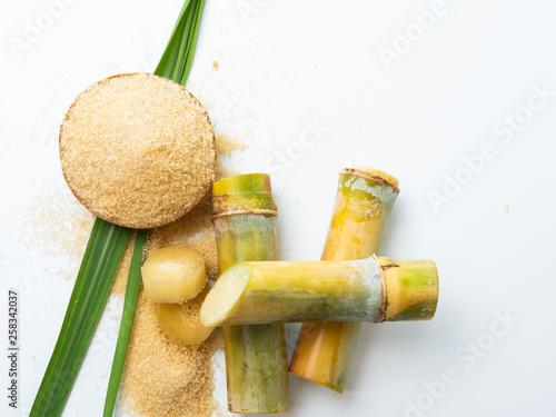 Slika na platnu sugar cane and leaf with brown sugar