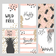 Set Of Card Templates With Ani...