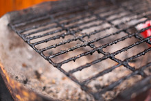 Closeup Of Dirty And Burnt Barbecue Grill Grates. Risk Factor Of Cancers. Unhealthy Food